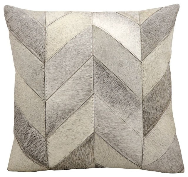 Small Gray Decorative Pillow : Cow Hair Chevron Decorative Pillow - Contemporary - Decorative Pillows - by RugPal