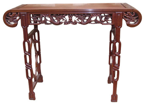 Rosewood Chinese Altar Table With Deep Dragon Carving Asian Console Tables