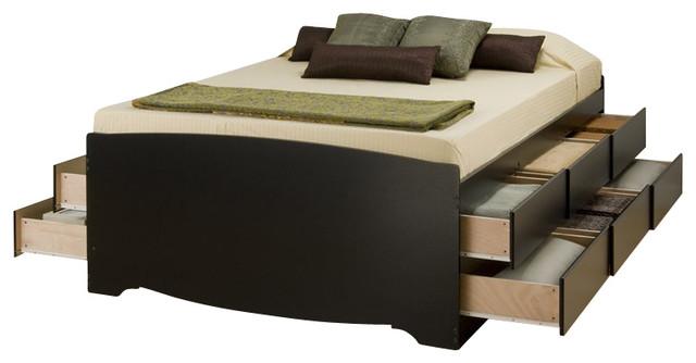 Prepac Black Tall Queen Captainu0027S Platform Storage Bed With 12 Drawer