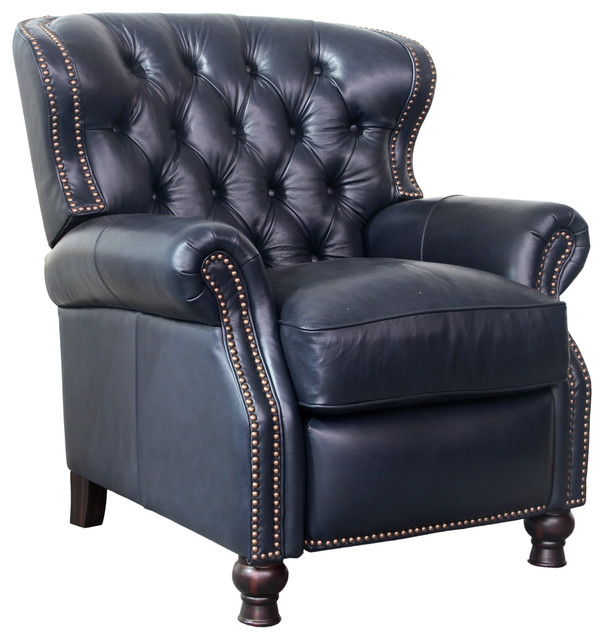 Alder Leather Recliner, Blue.