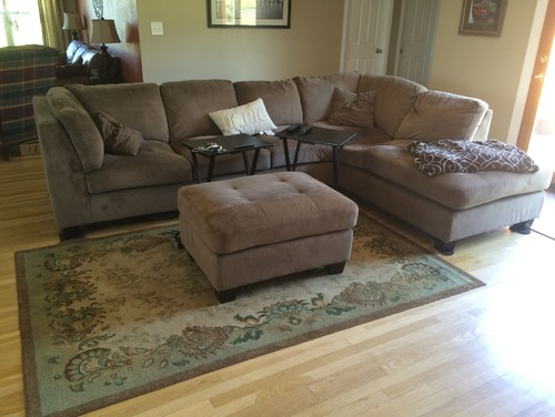 I Need Assistance In Choosing The Correct Size Rug For My Living Room. I  Have Attached Pics So You Can See The Lay Out. On The Right Hand Side Of  The Couch ...