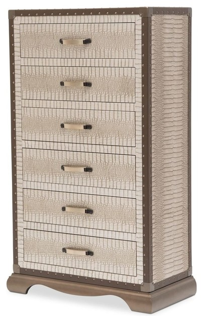 Aico Michael Amini Valise Upholstered 6-Drawer Chest.