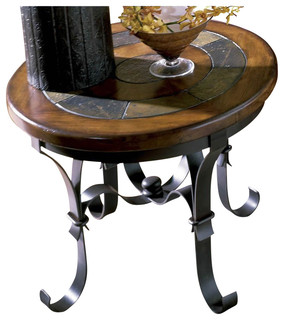 riverside stone forge round end table transitional side tables and