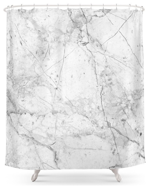 marble shower curtain, nordic white - contemporary - shower