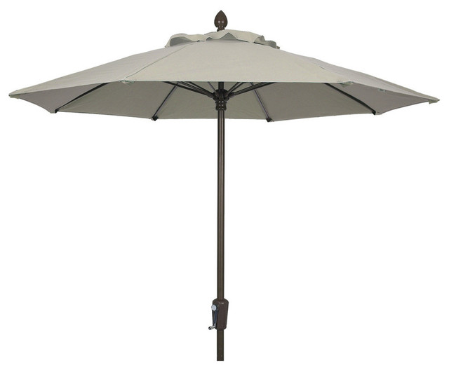 9&x27; Market Umbrella Pulley And Pin, Champagne Bronze Pole, Pacific Blue Canopy.