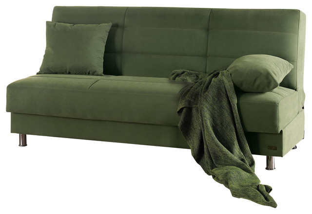 Empire Furniture Usa Atlanta Armless Modern Convertible Sofa Bed Green
