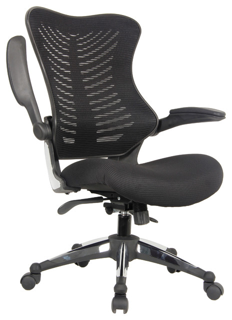 executive ergonomic mesh office chair flip up armrest molded seat