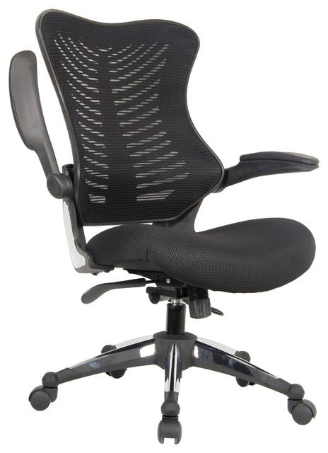 Executive Ergonomic Mesh Office Chair Flip Up Armrest Molded Seat.