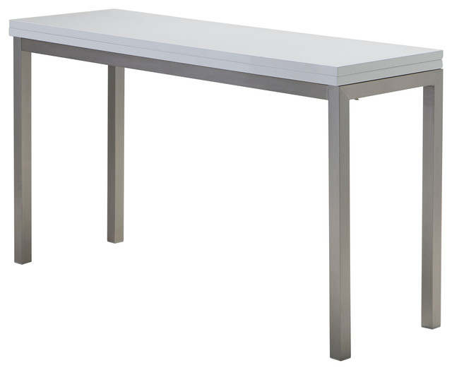 Alure Dining Table High Gloss White With Brushed Stainless Steel.