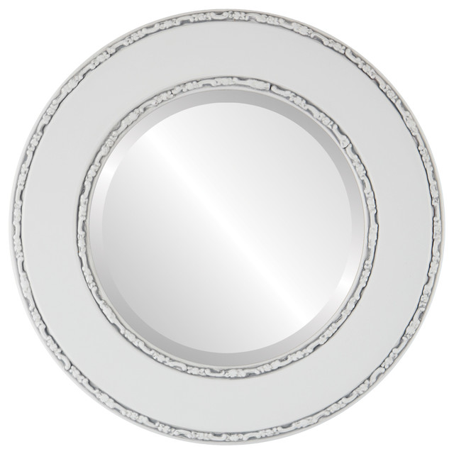 Paris framed round mirror in linen white traditional for White round wall mirror