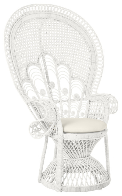 Lady Peacock Rattan Chair, White