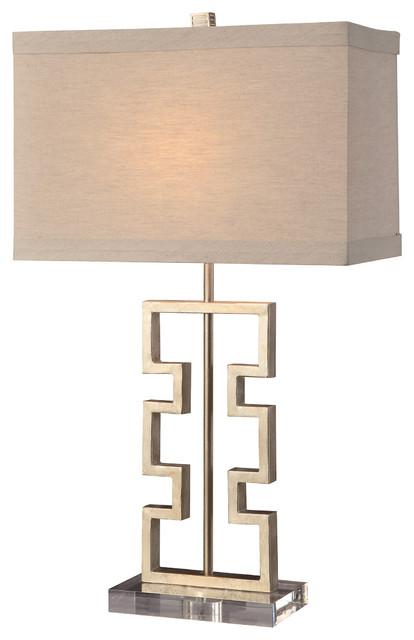 """Azteca Modern Art Metal Table Lamp 27""""  16"""" Linen Shade."""