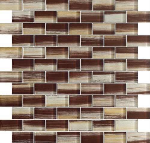 Zephyr Bulgarian Rose Brown Glossy Bricks Pattern Gl Mosaic Tiles Sample