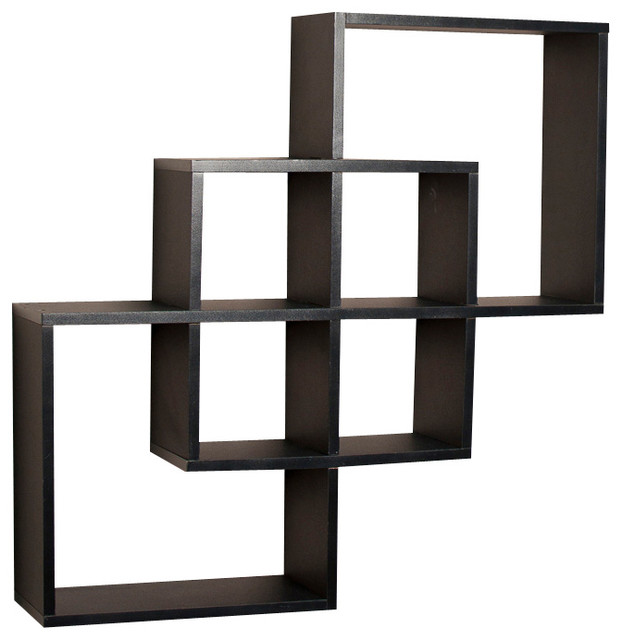 Lash Intersecting Squares Decorative Wall Shelf, Black  contemporary-display-and-wall-