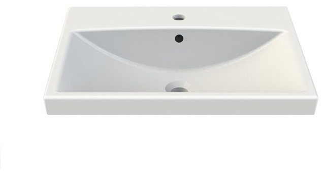 Rectangle White Ceramic Wall Mounted Or Self Rimming Sink, White, One Hole.