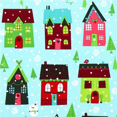 light blue Robert Kaufman Christmas fabric snowman house - Fabric ...