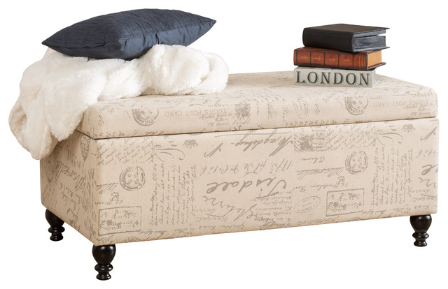 Cerise Fabric Storage Ottoman Bench With French Script  Traditional Accent And Storage