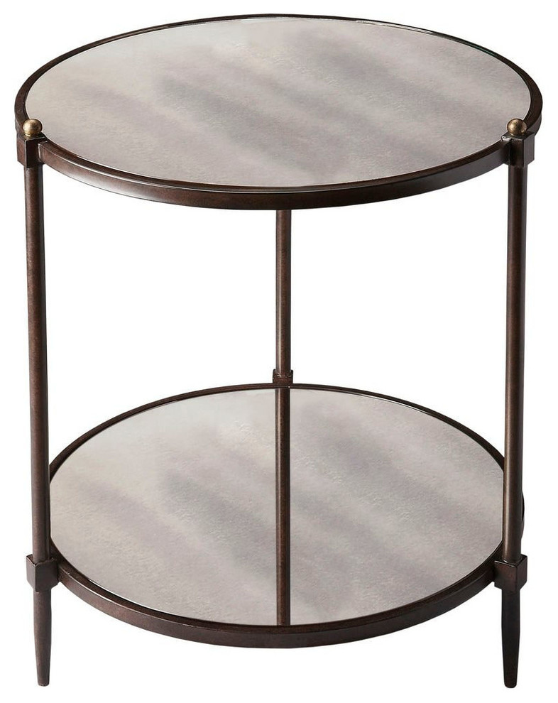 Offex Transitional Round Mirrored Side Table Gray