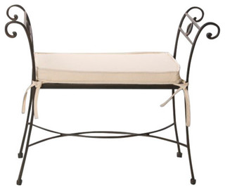 Capry forge bench mediterranean upholstered benches - Legua artesanos ...