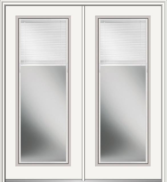 """Fiberglass Double Doors With Internal Blinds, Left Hand In-Swing, 74""""x82""""."""