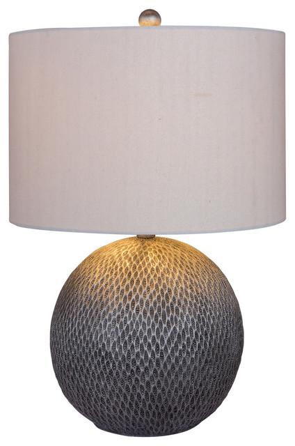 "Fangio Lighting&x27;s 23.5"" Resin Table Lamp, Silver Finish."