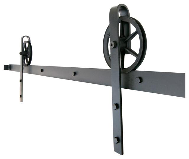 Barn wood coffee tables - Industrial Spoked European Sliding Door Hardware Set