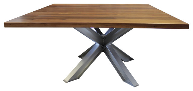 Square X Base Aluminum Pedestal Table