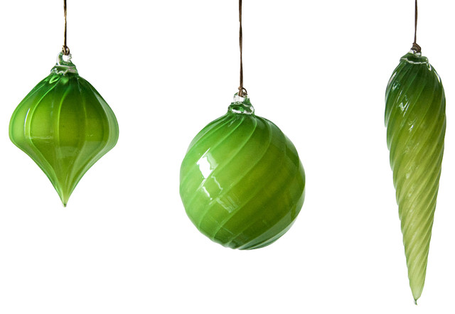 Bright Green Holiday Ornament 3 Piece Set