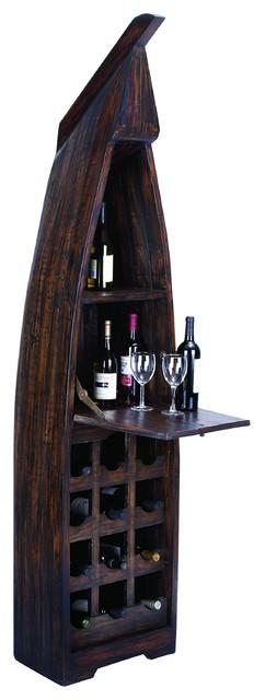 Boat Skiff Wine Cabinet Bottle Rack Storage Shelf Serving Tray Bar Decor