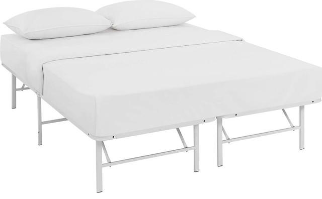 Edinburgh Stainless Steel Queen Bed Frame, White.