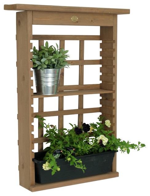 vertical living wall planter and decorative shelving unit
