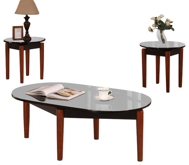 Cocktail And 2 End Tables, Speckled Black/ Cherry Finish, 3 Piece Set  Traditional