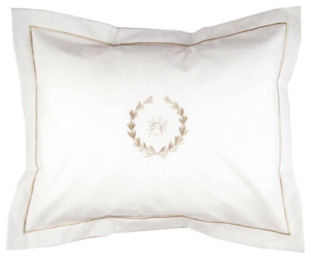 Boudoir Bee Wreath Pillow Cover, Beige.
