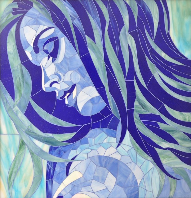 Glass mosaic portrait quot lady of the lake quot contemporary mixed media art