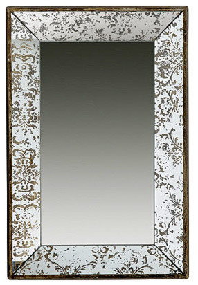 """Antique Style Frameless Wall Mirror Tray 24""""x15""""."""