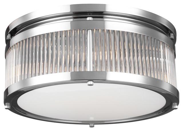 Paulson 3-Light Flush Mounts, Chrome.