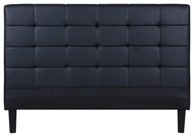 Modern Bonded Leather Headboard, Deluxe Tufted Detail, Black, Full.