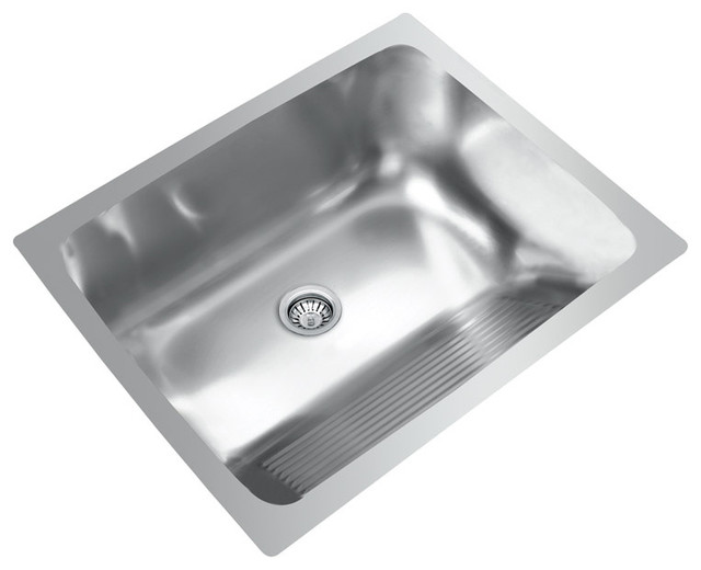 Good Ukinox D610.457 Dual Mount Single Bowl Stainless Steel Laundry Sink  Contemporary Utility