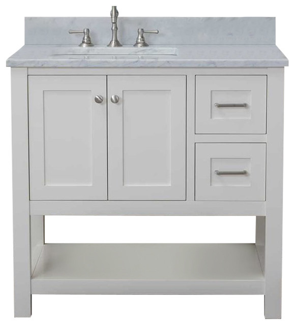 """Cabinet Mania White Shaker 36"""" Bathroom Vanity Open Shelf With Marble Top."""