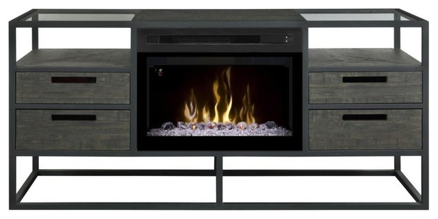 Ivan Media Console Fireplace With Glass Ember Bed