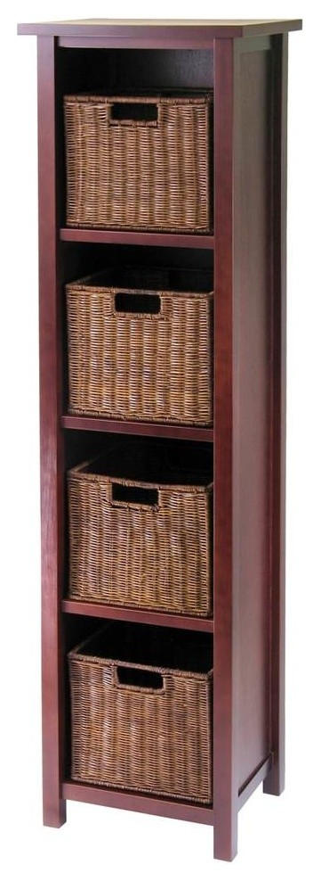 Four Tier Storage Tower -Rattan Baskets, Antique Walnut Finish
