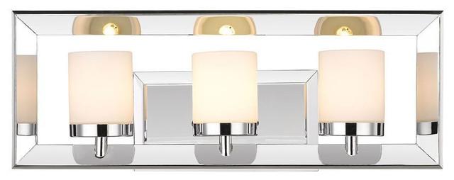 Smyth 3-Light Bath Vanity, Chrome, Cased Opal Glass.