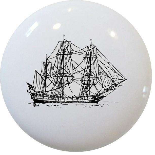 Corvette Ship Nautical Ceramic Knob - Beach Style - Cabinet And Drawer Knobs - by Carolina ...