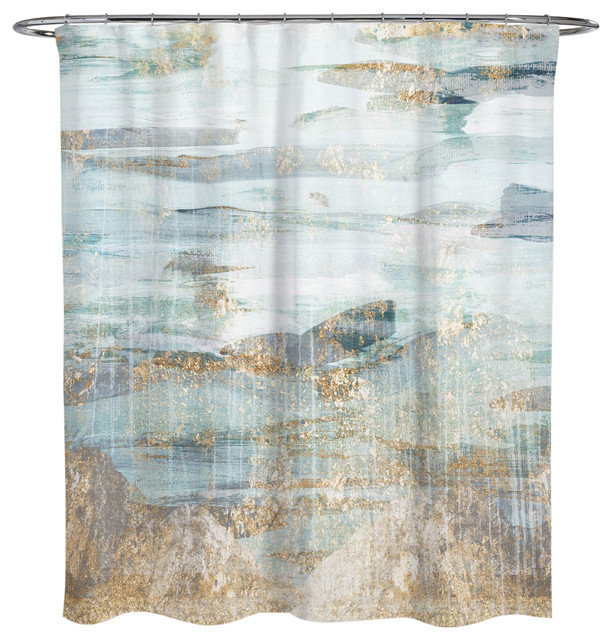 Olivergal Love In Teal Shower Curtain