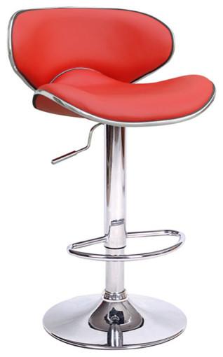 High Quality Kappa Contemporary Adjustable Bar Stools, Cherry Red, Set Of 2 Contemporary  Bar