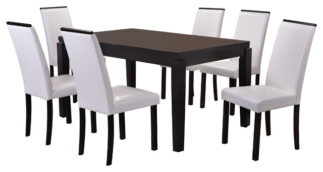 Venezia Cappuccino And White 7 Piece Dining Set