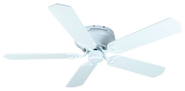 """Craftmade Ceiling Fan, White Contemporary Flush Mount, 52"""" White Blades."""