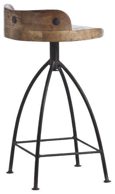 Astounding Counter Stool With Wooden Seat And Iron Base Gmtry Best Dining Table And Chair Ideas Images Gmtryco