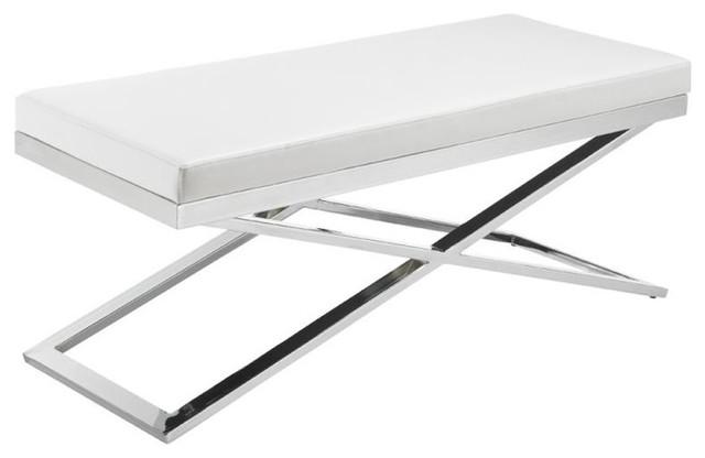 Chrome Framed Leather Bench, White.