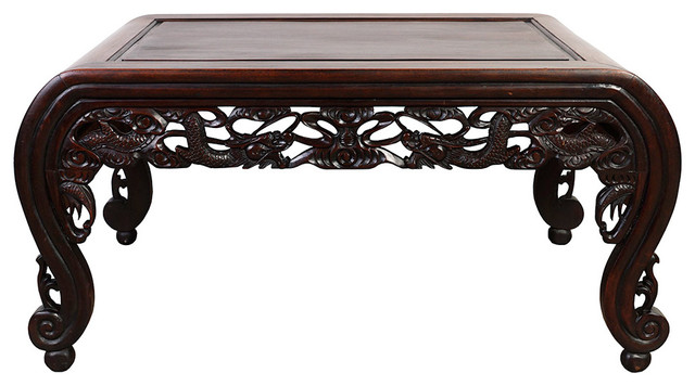 Attirant Consigned, Chinese Antique Rosewood Carved Dragon Coffee Table